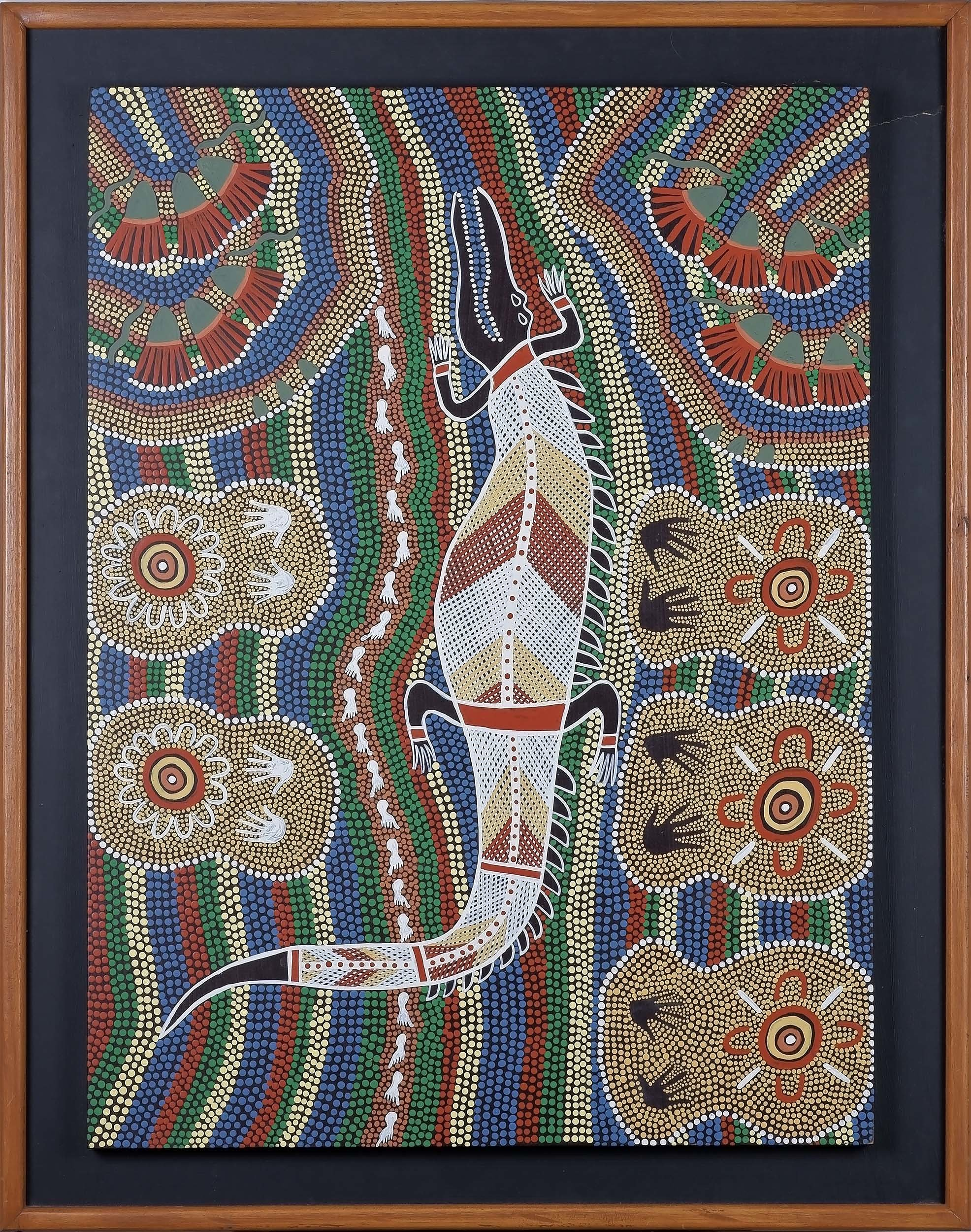 'Aboriginal Artist Unknown (Maranoa-Western Queensland) Crocodile, Acrylic on Board'