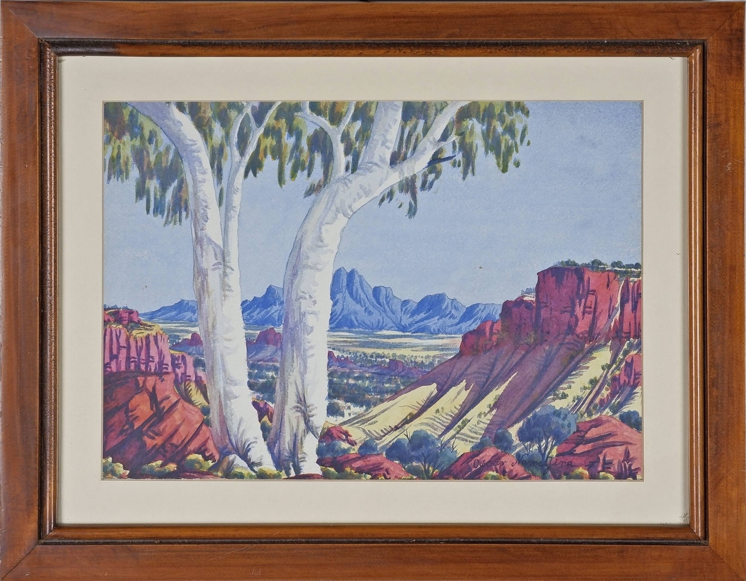 'Oscar Namatjira (1922-1991) Central Australian Landscape, Watercolour'