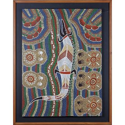Aboriginal Artist Unknown (Maranoa-Western Queensland) Crocodile, Acrylic on Board