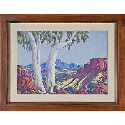 Oscar Namatjira (1922-1991) Central Australian Landscape, Watercolour