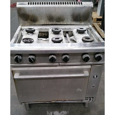 Moffatt Stainless Steel Natural Gas 6 Burner Griddle & Oven