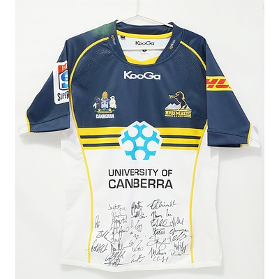 Signed 2013 Brumbies Jersey with Twenty Nine Signatures