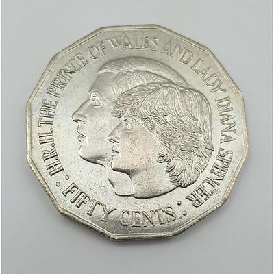 50 Cent Coin 1981 Charles & Diana Royal Wedding