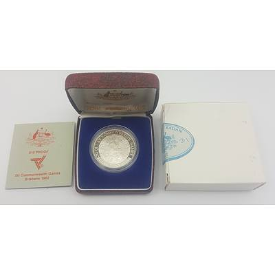 1982 Australian Silver Proof $10 Coin - Commonwealth Games Brisbane in Original Box with Certificate of Authenticity