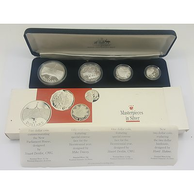1988 Royal Australian Mint Master Pieces of Silver Cased Sterling Silver Commemorative Coin Set