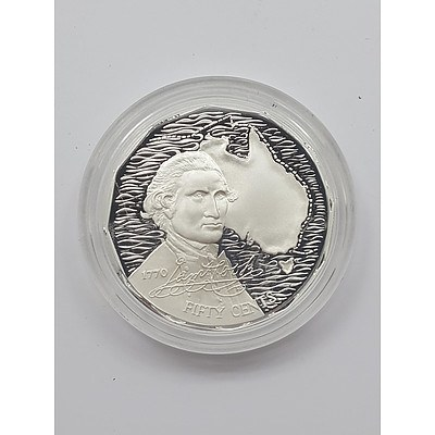 1989 Sterling Silver Masterpieces in Silver Gem Uncirculated Fifty Cent Coin - Captain James Cook