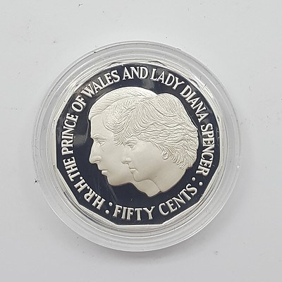 1989 Sterling Silver Masterpieces in Silver Gem Uncirculated Fifty Cent Coin - Charles and Diana