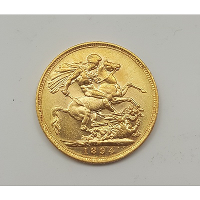 1894 Gold Sovereign - 22ct Solid Gold in Very Collectable Grade