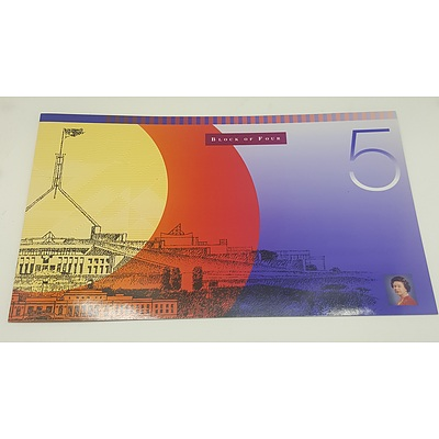 Note Portfolio - Uncut Block of Four 1996 Five Dollar Notes in Presentation Folder issue 916 of Only 1000 Produced