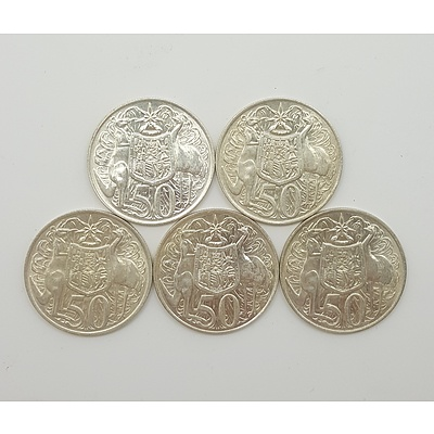 Five 1966 Australian Round Fifty Cent Pieces