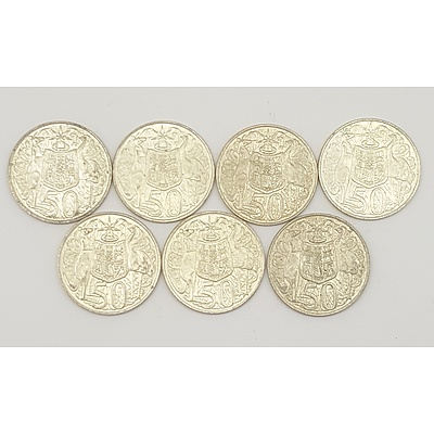 Seven 1966 Australian Round Fifty Cent Pieces