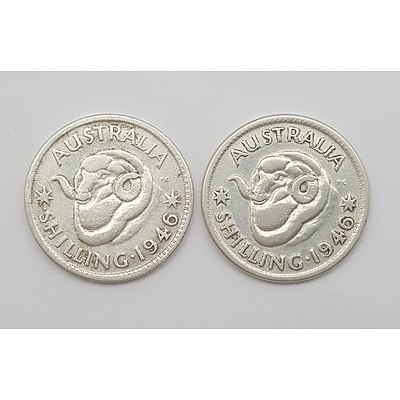 Both 1946 Australian Shillings - More Common 1946 Shilling with the Scarce Dot Before S 1946 Shilling