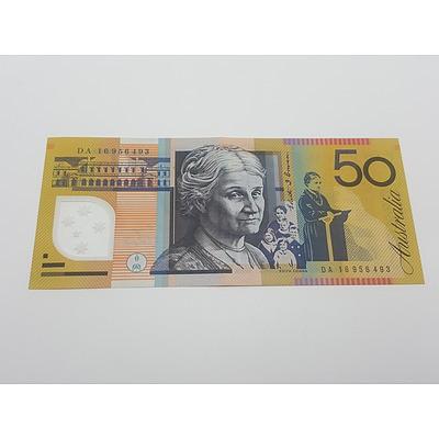 Modern Rarity Last Prefix DA16 Australian Fifty Dollar Note