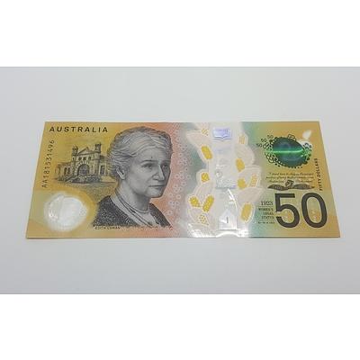 Next Generation First Prefix AA18 Australian Fifty Dollar Note