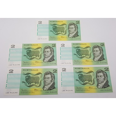 Run of Five Consecutive Serial Numbered Australian?Two Dollar Paper Notes