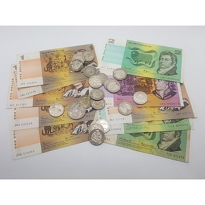 Quantity of Australian Currency Including Paper Notes and Pre-Decimal Silver Coins