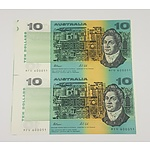 Rare Uncut Pair of Fraser / Cole Ten Dollar Australian Banknotes - from the 1991 International Coin Fair
