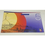 Note Portfolio - Uncut Block of Four 1996 Five Dollar Notes in Presentation Folder issue 1784 of Only 2200 Produced