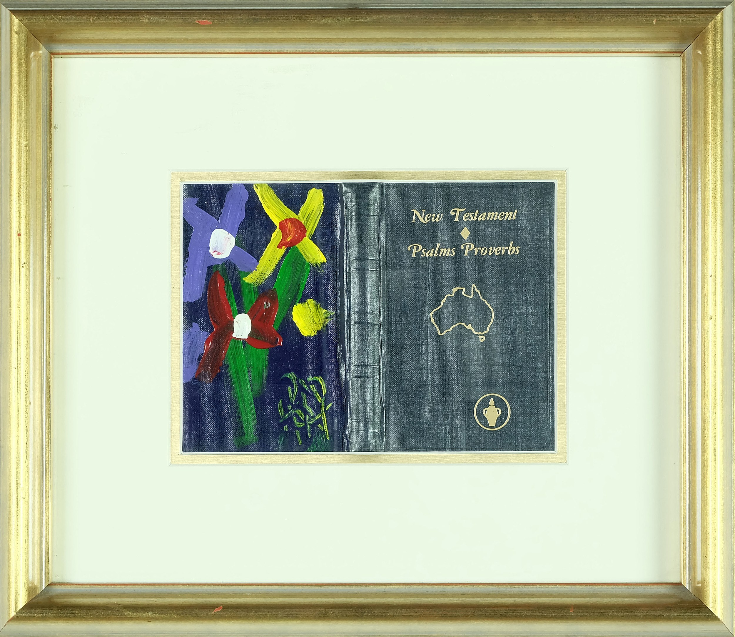 'Pro Hart (1928 - 2006) Still Life Oil on Bible Cover'
