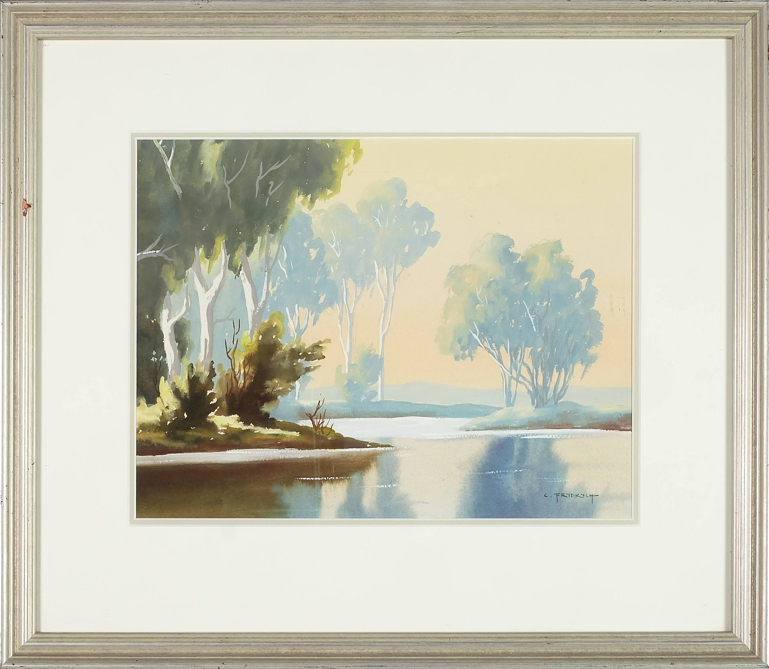 'Charles Frydrych (1913-1990) River Bend Watercolour'