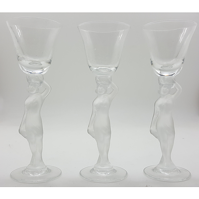 Trio of Bayel Bacchante Crystal Sherry Glasses with Frosted Nude Figural Stems