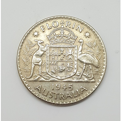 Scarce 1945 Florin Last Year of Sterling Silver Florin Production