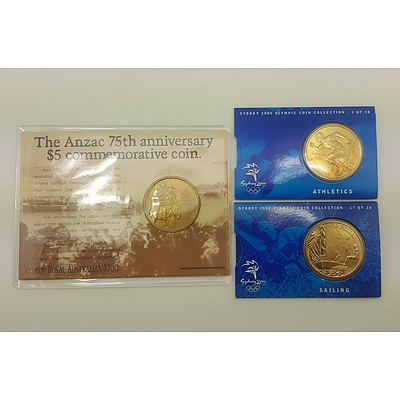 Three Commemorative Five Dollar Coins in Original Packaging