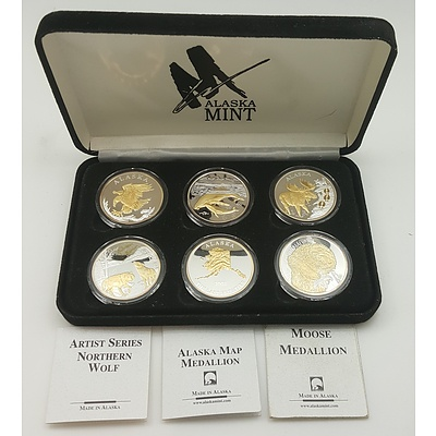 Alaska Mint Proof Coin Bullion Set with Six Ounce Proof Coins of Pure Silver