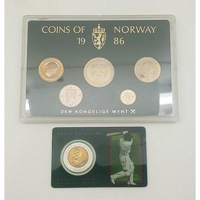Don Bradman Five Dollar Commemorative and 1986 Norwegian Proof Set