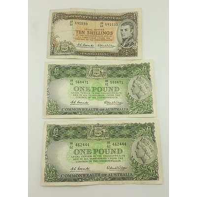 Three Commonwealth of Australia Pre Decimal Banknotes