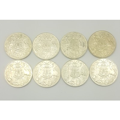 Eight 1966 Australian Round Fifty Cent Pieces