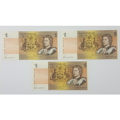 Three Consecutive Serial Numbered Australian One Dollar Notes