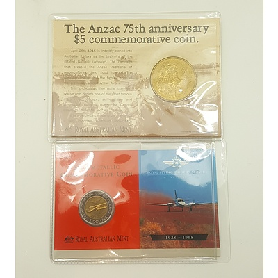 Two Commemorative Five Dollar Coins in Original Packaging