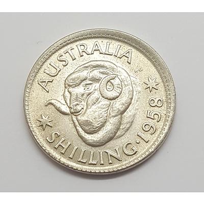 Error Coin - 1958 Australian Shilling Misstrike (Broadstrike)