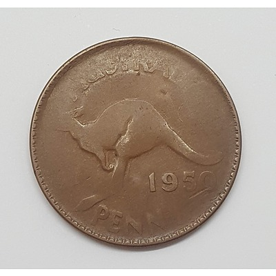 Error Coin - 1950 Australian Penny - Massive Weak Strike