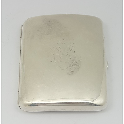 Sterling Silver Cigarette Card Case, London 1916 Approx. 85grams