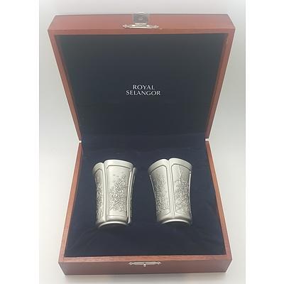 Cased Pair of Royal Selangor Pewter Goblets / Beakers