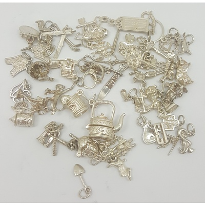 Quantity of over 30 New Sterling Silver Charms