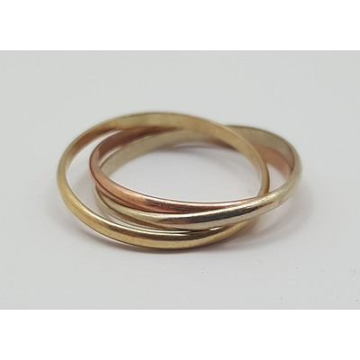9ct Trinity Gold Ring- Yellow, White and Rose Gold