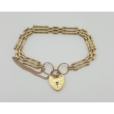 9ct Gold Gatelink Bracelet with Heart Padlock