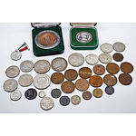 Group of Various World Coins and Medallions Including 1927 Parliament House Florin etc
