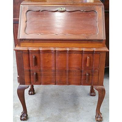 Vintage South African Stinkwood (Celtis Africana) Chippendale Style Writing Bureau