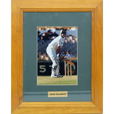 Signed and Framed Photograph of Australian Legend Adam Gilchrist (Gilly)