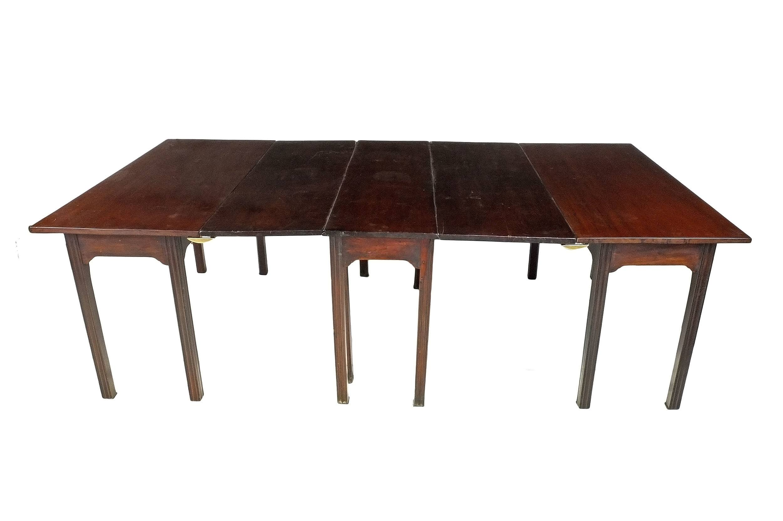 '18th Century English Jamaican Mahogany Gateleg Dining Table with Two Later Matching Detachable End Tables'
