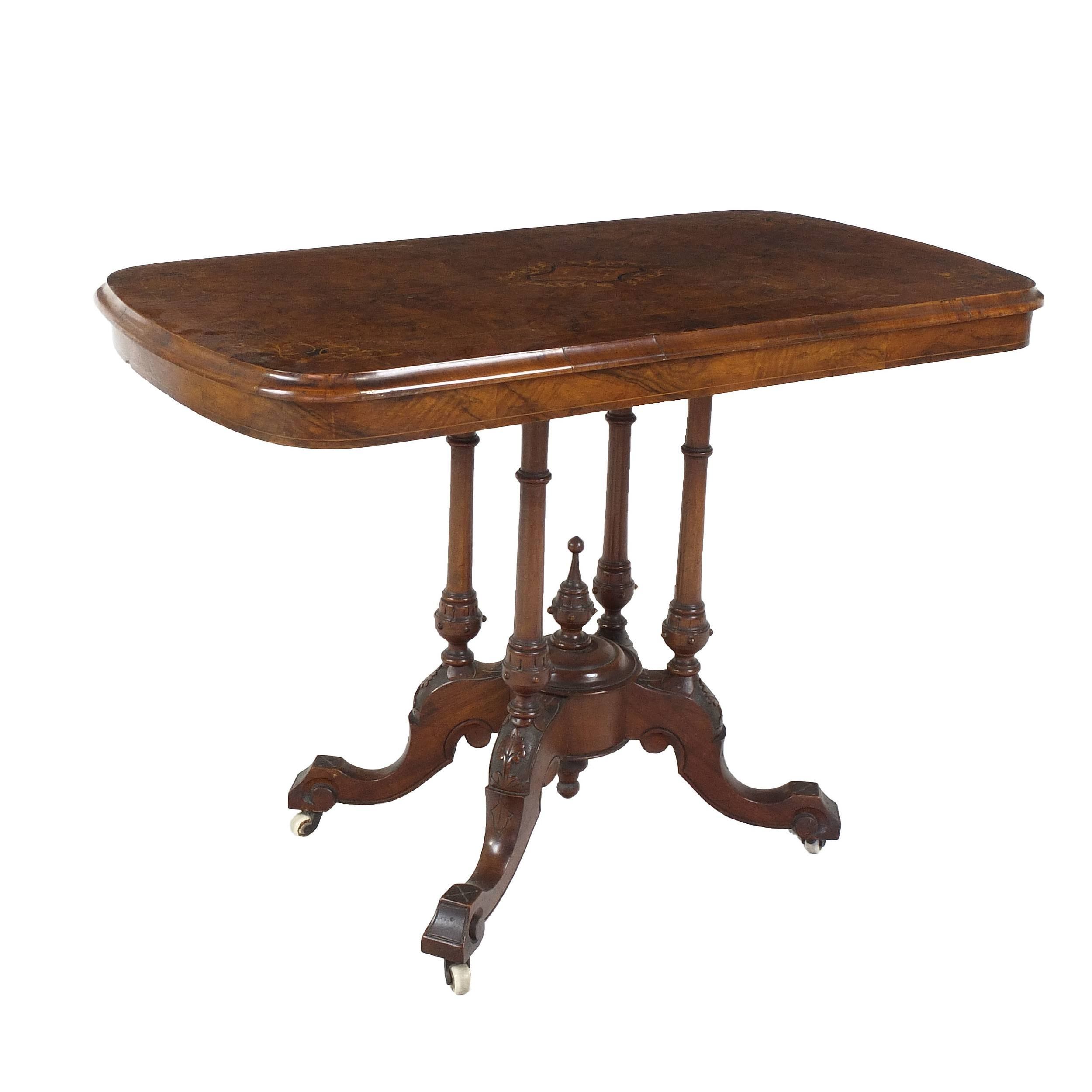 'Victorian English Walnut Loo Table with Inlaid Top Circa 1880'