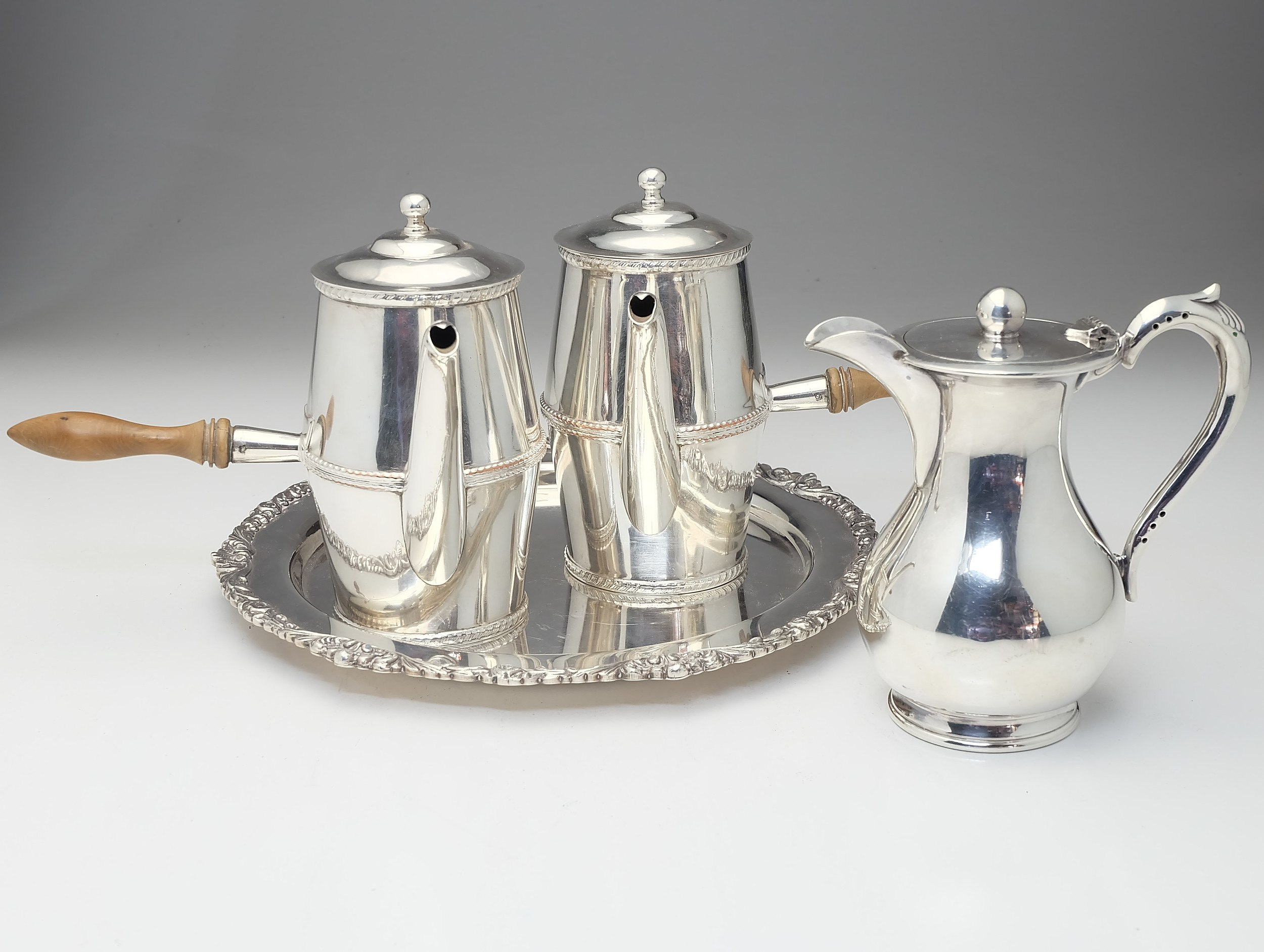 W & Co Silver Plate Milk Jug, Two French Silver Plated Chocolate Pots and a  Old Sheffield Reproduction Strachan Plate