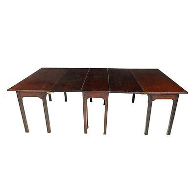 18th Century English Jamaican Mahogany Gateleg Dining Table with Two Later Matching Detachable End Tables