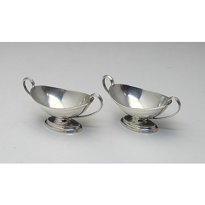 Pair of Sterling Silver Sheraton Style Open Salts Sheffield Hutton and Sons LTD 1907 82g