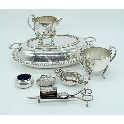 Group of Silverware Including Frank M Whitting Open Salt, Silver Plated Dish and Cover, Small Strainer and More