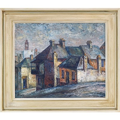 Doreen Gadsby (1926-) Street Scene Oil on Board